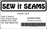 SEW it Seams Loyalty Card